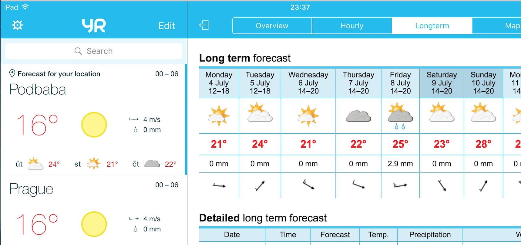 Yr iOS počasí weather